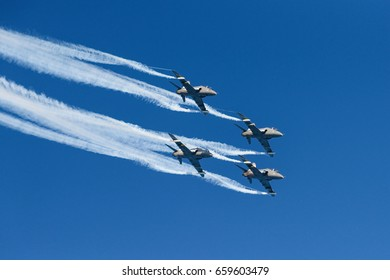 HELSINKI, FINLAND - JUNE 9, 2017: The Finnish Air Force Display Team Midnight Hawks celebrating 20th anniversary of the team and 100 years centenary of Finland at the  Kaivopuisto Air Show.