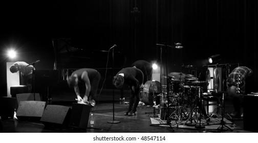 HELSINKI, FINLAND - MARCH 10: Great finnish singer Emma Salokoski & Ilmiliekki Quartet live on stage at Malmitalo on March 10, 2010 in Helsinki, Finland