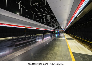 Helsinki / Finland - March 18 2019: new Keilaniemi metro station, opened in 2017 in Espoo city