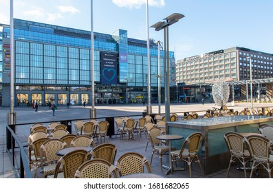 Helsinki, Finland - March 20, 2020: Kamppi Shopping Centre by Narinkka Square is empty of people due to the outbreak of the Coronavirus