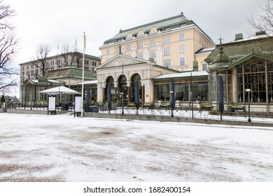 Helsinki, Finland - March 21, 2020:  Restaurant Kappeli on Esplanadi Park in the heart of Helsinki is closed due to the outbreak of the Coronavirus.
