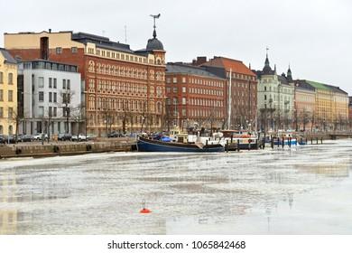 HELSINKI, FINLAND - MARCH 24, 2018: Gloomy spring day. Pohjoisranta embankment