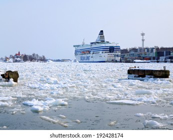 HELSINKI, FINLAND - MARCH 26, 2010: Silja Serenade ferry berthed at Helsinki Silja Line Terminal. Silja Serenade operates cruises Helsinki-Stockholm and takes 2852 passengers onboard.