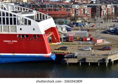 HELSINKI, FINLAND - MARCH 26, 2018: Loading of transport on Viking XPRS Tallinn ferry in port of Helsinki