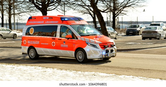 HELSINKI, FINLAND - MARCH 26, 2018: Emergency rushes rescue