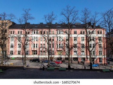 Helsinki, Finland - March 26, 2020: A Residential House Building at Nervarderinkatu in Helsinki, Finland