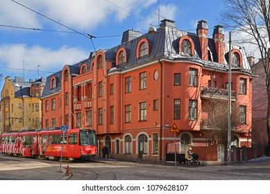 HELSINKI, FINLAND - MARCH 28, 2018: Tehtaankatu, east-to-west street in southern central Helsinki