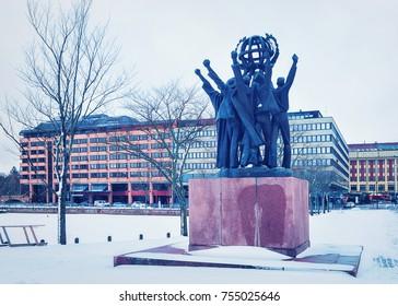 Helsinki, Finland - March 8, 2017: World Peace Statue in Helsinki, Finland, in winter.