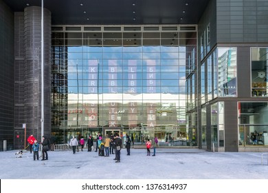 Helsinki, Finland, March 9: The central entrance to the Sello city library building in the Espoo district of Helsinki, March 9, 2019.