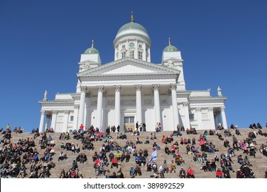 HELSINKI, FINLAND - MAY 01, 2012 - Beautiful view of famous Helsinki Cathedral. Large amount of people gathered on the stairs in front of the Dome Church in Helsinki, Finland, during Vappu.