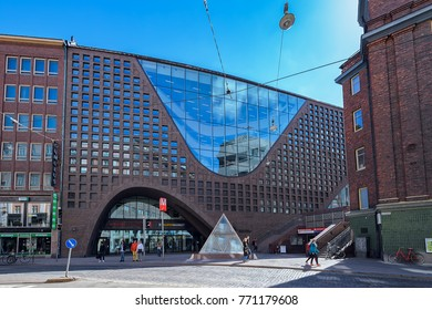 HELSINKI, FINLAND - May 06, 2017:  Imposing building of Helsinki University City Centre Campus Library (Kaisa house) by Anttinen Oiva Architects (2012).