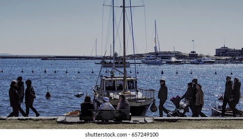 HELSINKI, FINLAND - MAY 1, 2017. May Day Labor Day Vappu celebration. People at the harbour