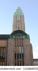 HELSINKI, FINLAND - May 13, 2018: Clock tower of Helsinki Central Station on Kaivokatu in the city centre