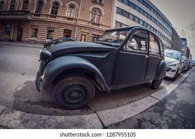 Helsinki, Finland - May 16, 2016: Old car black Citroen 2CV. distortion perspective fisheye lens