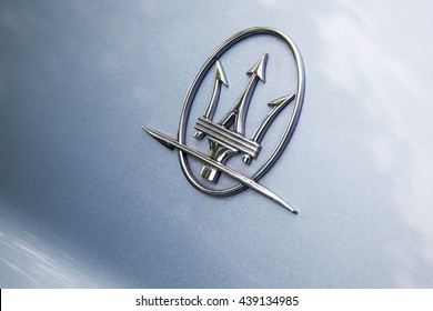 Helsinki, Finland - May 21, 2016: Maserati car logo, closeup photo with selective focus