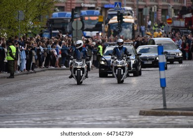 HELSINKI, FINLAND - MAY 25, 2017: The state funeral and cortege of the former President of the Republic of Finland Mauno Koivisto.