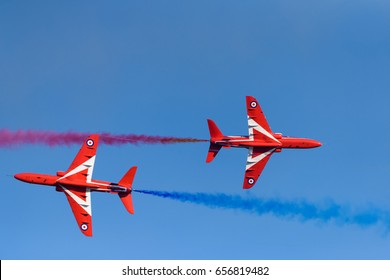 HELSINKI, FINLAND - MAY 25, 2017: Red Arrows (The Royal Air Force Aerobatic Team) flying  aerobatics at the Kaivopuisto Air Show in Helsinki, Finland on 9 June 2017.