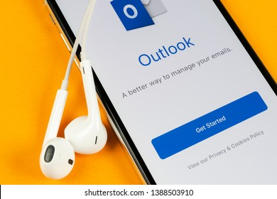 Helsinki, Finland, May 4, 2019: Microsoft Outlook office application icon on Apple iPhone X screen close-up. Microsoft outlook app icon. Microsoft OutLook application. Social media network