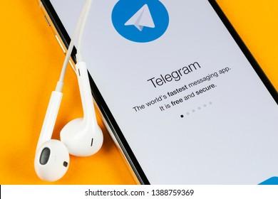 Helsinki, Finland, May 4, 2019: Telegram application icon on Apple iPhone X screen close-up. Telegram app icon. Telegram is an online social media network. Social media app