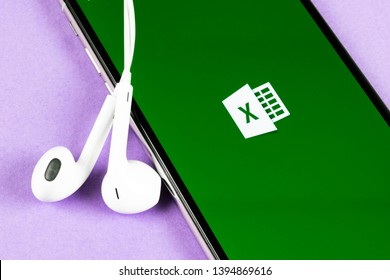 Helsinki, Finland, May 4, 2019: Microsoft Excel application icon on Apple iPhone X screen close-up. Microsoft office Excel app icon. Microsoft office on mobile phone. Social media