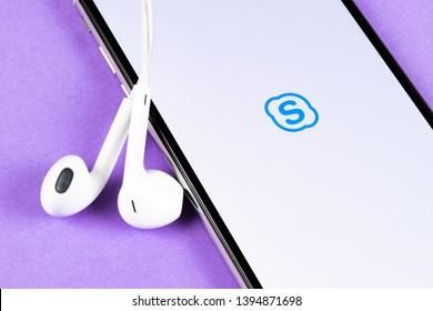 Helsinki, Finland, May 4, 2019: Skype business application icon on Apple iPhone X smartphone screen close-up. Skype business messenger app icon. Social media icon. Social network. Skype app icon.