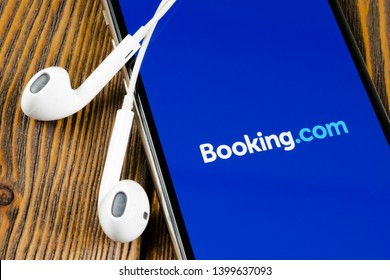 Helsinki, Finland, May 4, 2019: Booking.com application icon on Apple iPhone X screen close-up. Booking app icon. Booking.com. Social media app. Social network