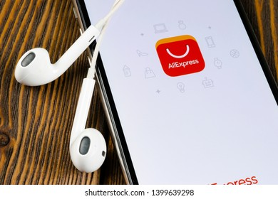 Helsinki, Finland, May 4, 2019: Aliexpress application icon on Apple iPhone X smartphone screen. Aliexpress app icon. Aliexpress.com is popular e-commerce application. Social media icon