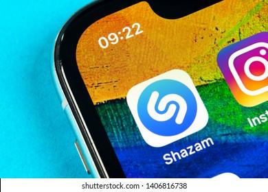 Helsinki, Finland, May 4, 2019: Shazam application icon on Apple iPhone X screen close-up. Shazam app icon. Shazam is popular online music application. Social media app