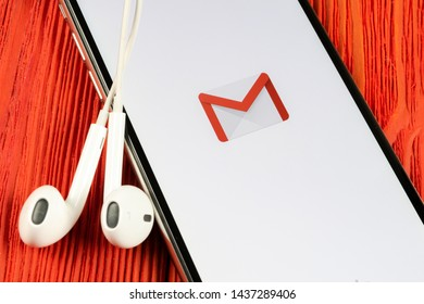 Helsinki, Finland, May 4, 2019: Google Gmail application icon on Apple iPhone X smartphone screen close-up. Gmail app icon. Gmail is popular Internet online e-mail. Social media icon
