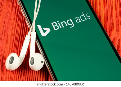 Helsinki, Finland, May 4, 2019: Bing application icon on Apple iPhone X screen close-up. Bing ads app icon. Bing ads is online advertising application. Social media network.