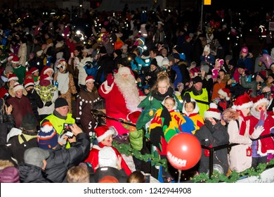 Helsinki, Finland - November 25, 2018: The traditional parade of Santa Claus at the opening of the Christmas holidays. Crowds greeting Joulupukki