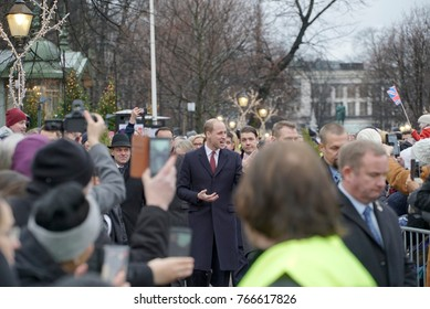 HELSINKI, FINLAND - NOVEMBER 30, 2017: Official visit of Duke of Cambridge in Finland. Helsinki crowd greeting Prince William at Esplanade Park. The 100th anniversary of Finland's Independence.