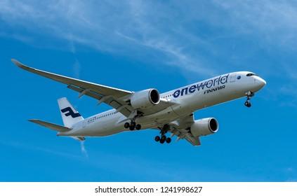 Helsinki, Finland - Oct 05 2018: Finnair Airbus A350-900 XWB landing to Helsinki-Vantaa airport Finland