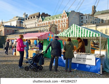 HELSINKI, FINLAND - OCT 1, 2016: Week-long Helsinki Baltic Herring Market. Dozens of fishermen from around Finland gather at Market Square to sell thousands of kilos of Baltic herring.