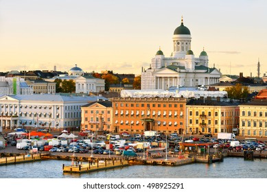 HELSINKI, FINLAND - OCT 2, 2016: View of evening Helsinki from sea