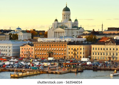 HELSINKI, FINLAND - OCT 2, 2016: View of evening Helsinki from sea. Market Square located in South Harbour.