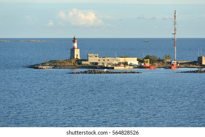 HELSINKI, FINLAND - OCT 4, 2016: Harmaja is island and lighthouse outside Helsinki. There is also pilot station on island