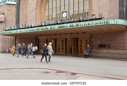 HELSINKI, FINLAND - OCT 5, 2016: Central railway station building was designed by E. Saarinen and inaugurated in 1919. It was chosen as one of world's most beautiful railway stations by BBC in 2013