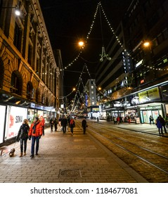 Helsinki, Finland - October 10, 2017: Night view of the illuminated Old Town in Helsinki, Finland. Christmas in Helsinki.