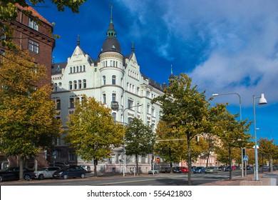 Helsinki, FINLAND - October 2, 2016: building on the corner Pohjoisranta and Rauhankatu