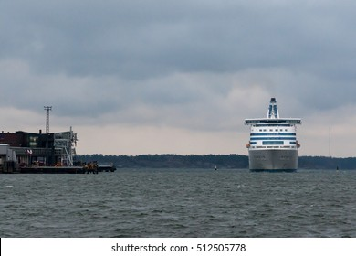 HELSINKI, FINLAND - OCTOBER 25 : the ferry Silja Line arrives to Helsinki port, Finland OCTOBER 25 2016. The ferry Silja Line make regular flights between Helsinki and Stockholm