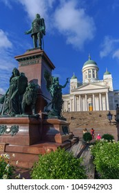 Helsinki, Finland - Okt 04 2017, view on emperor Alexander II monument and Helsinki Cathedral (Helsingin tuomiokirkko Nikolainkirkko) on Senate square, Helsinki, Finland