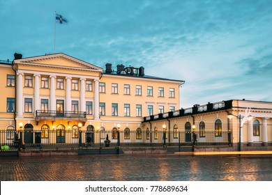 Helsinki, Finland. Presidential Palace In Evening Illuminations. It Contains Office Of President And Private Apartments For Official Functions And Receptions.