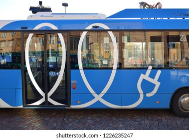 HELSINKI, FINLAND - SEPT 24, 2018: Linkker buses, first fast-charging electric buses in Finland (fragment)