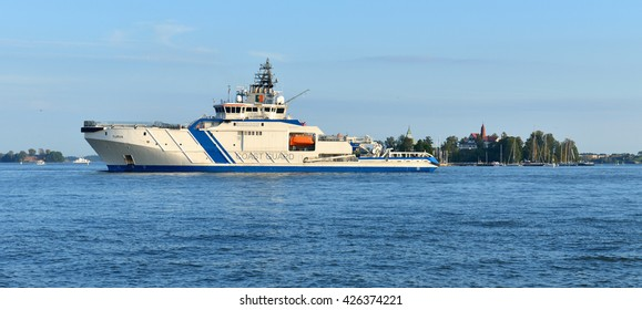 HELSINKI, FINLAND - SEPT 25, 2015: Turva is Finnish offshore patrol vessel. Built in 2014