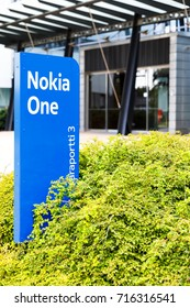 HELSINKI, FINLAND - SEPTEMBER 16, 2017: Nokia brand name on a blue sign in Nokia Campus near Helsinki, Finland on September 16, 2017