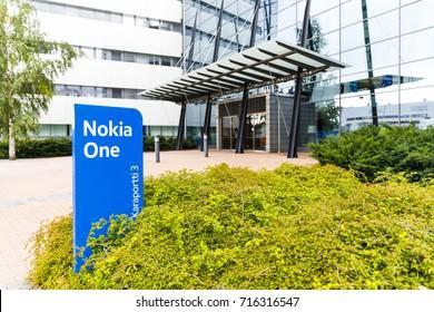 HELSINKI, FINLAND - SEPTEMBER 16, 2017: Nokia brand name on a blue sign in Nokia Campus near Helsinki, Finland on September 16, 2017