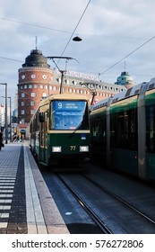 HELSINKI, FINLAND - SEPTEMBER 19, 2014 : Center of town, Hakaniemi station with tram stopping.