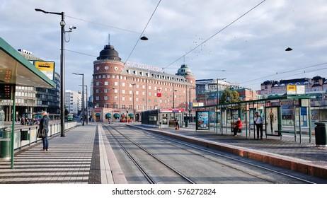 HELSINKI, FINLAND - SEPTEMBER 19, 2014 : Center of town, Hakaniemi station with tram stop.