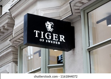 Helsinki, Finland - September 19 2017:  Tiger of Sweden store shop sign.  Tiger of Sweden Scandinavian menswear brand logo logotype. Editorial use only.